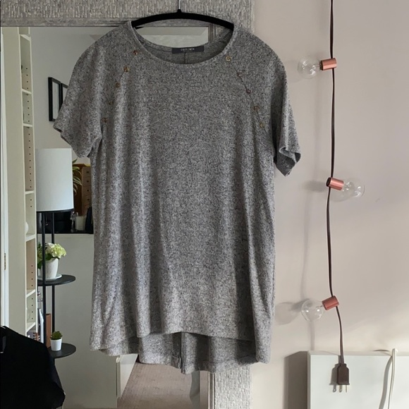 Grey Tshirt with Button Details